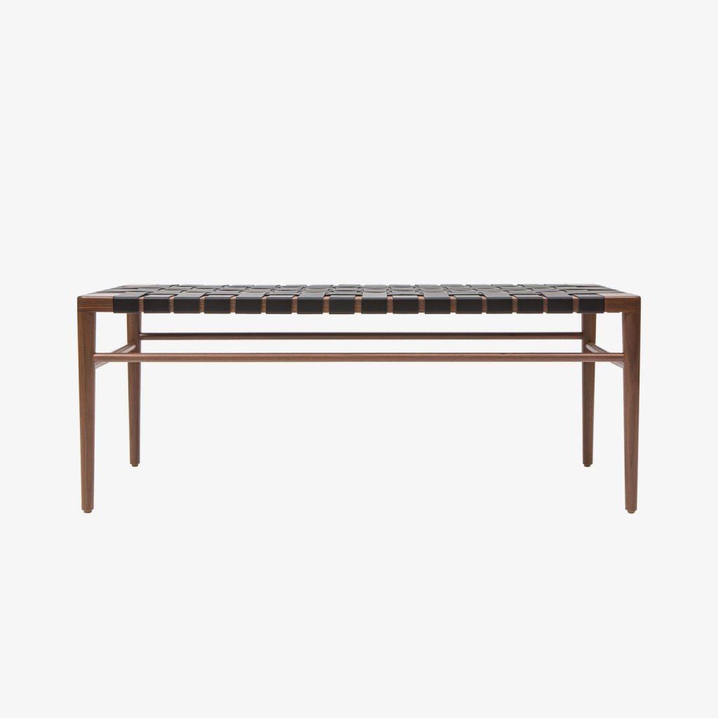 Smilow Furniture Walnut And Black Leather Webbed Bench Regeneration
