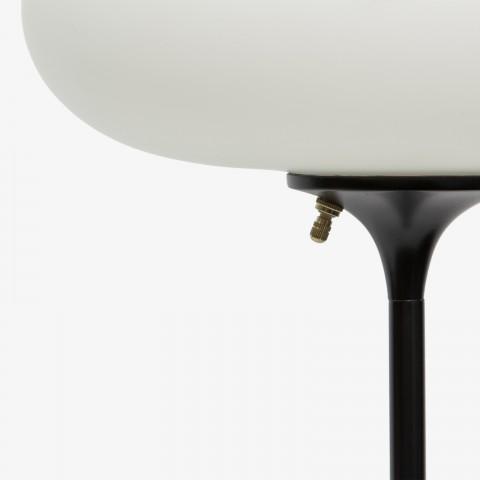 laurel floor lamp with black base and classic mushroom shape