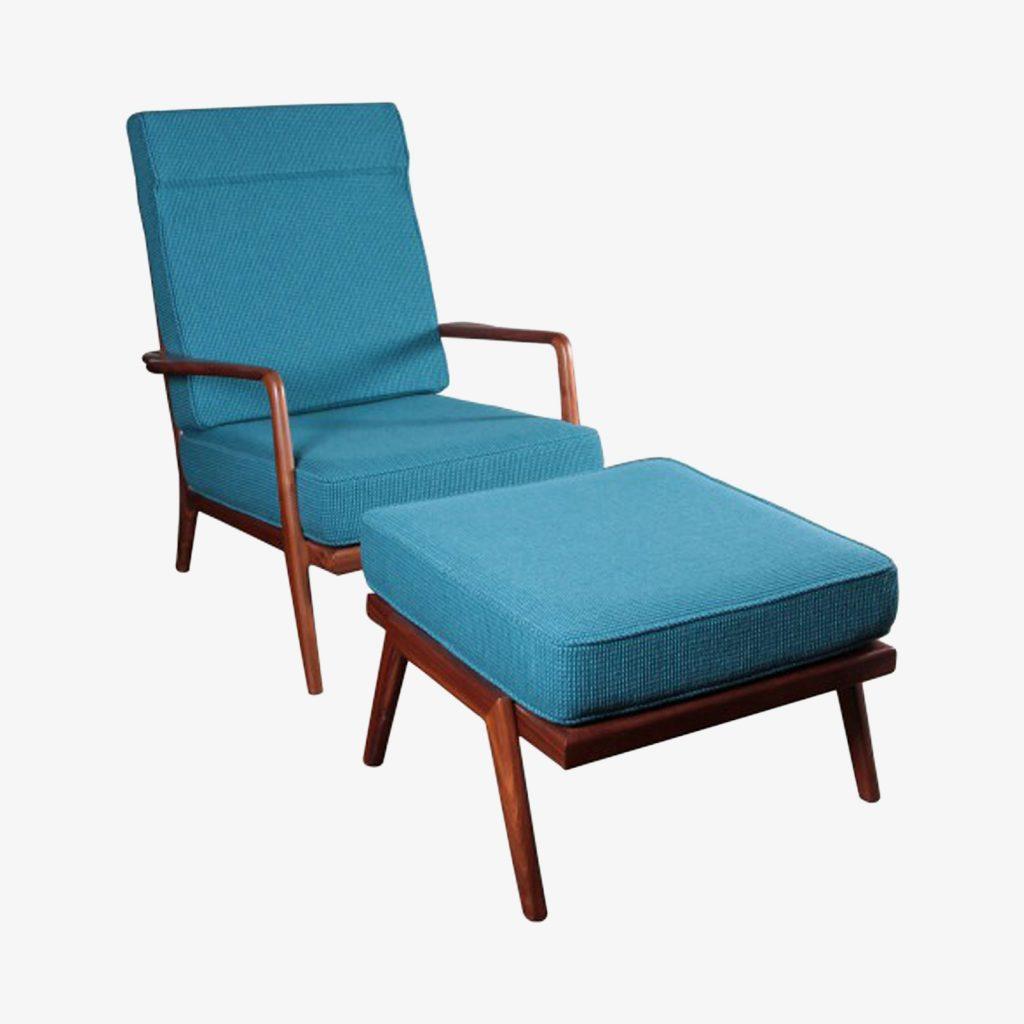 Single Walnut High Rail Back Lounge Chair By Mel Smilow