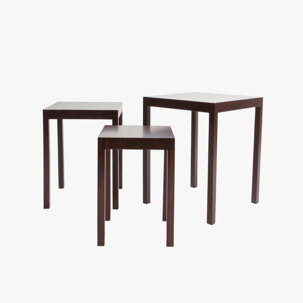 Set Of 3 Mahogany Nesting Tables Parsons Style 1960u0027s.