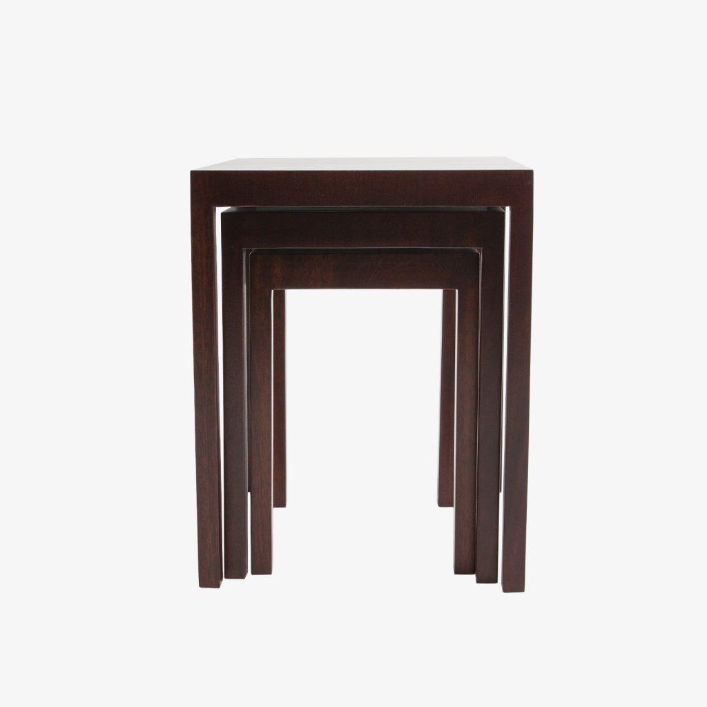 High Quality Set Of 3 Mahogany Nesting Tables Parsons Style 1960u0027s.